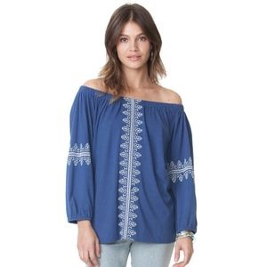Chaps Tops - SOLD! Chaps Embroidered Peasant Top 1X Blue Jersey